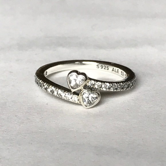 90e7046d0 Pandora Jewelry | Two Sparkling Hearts Ring | Poshmark